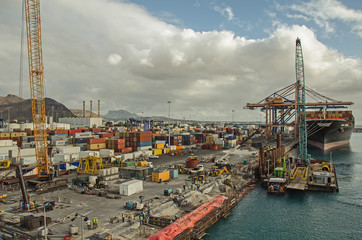 A lot of rapairing work in the port, Port Louis, Mauritius
