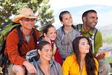 Portrait of adult and child hiking friends, Sedona, Arizona, USA