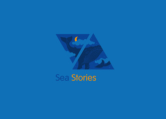 Creative logo, sea stories, the whale in the clouds