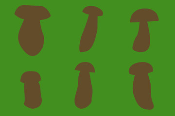 six outines of porcino mashrooms with green background