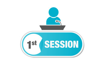 Speaker, session, microphone, podium, sign, button, 1st