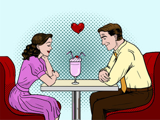 Couple on a date in restaurant. Pop art style  Illustration.
