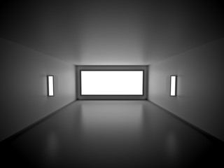 Empty Room with blank Light box. 3d Render Illustration.