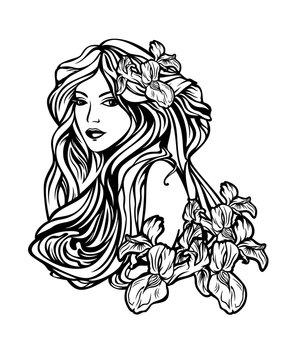 woman with long hair among flowers art nouveau style vector portrait