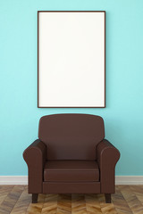 leather armchair and a poster