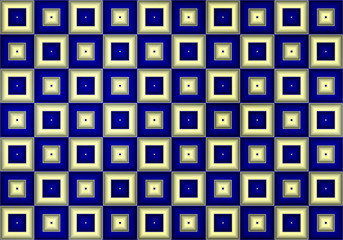 Abstract checkerboard background with white and blue squares