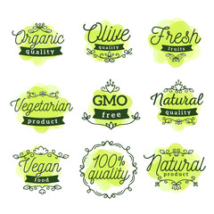 Vector set of eco watercolor badges with text. Logo green color