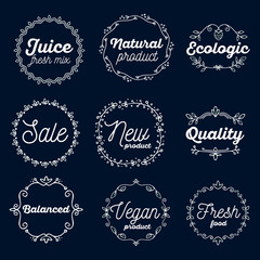 Vector set of eco badges with white text on dark background. Log