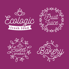 Vector set of eco badges with white text. Logo templates with fl