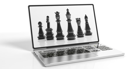 Chess on laptop screen. 3d illustration