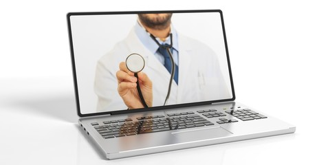 Doctor on a laptop's screen. 3d illustration
