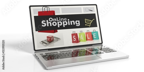 3d Rendering Online Shopping On A Laptop 39 S Screen Stock