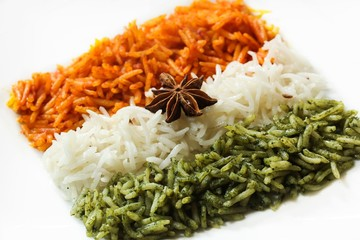 Rice Pulao in Indian flag color / Indian republic day food , selective focus