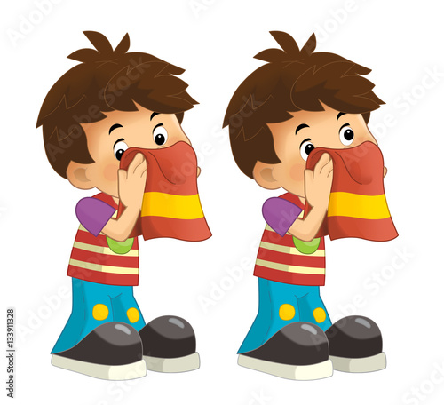 """""""Cartoon set of young boys wipe the faces with a towel ..."""