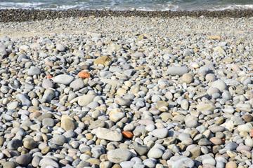 Pebble texture,beach stones background.Nature background.