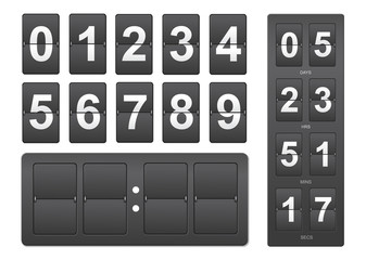 Countdown timer. Black mechanical scoreboard panel illustration on white background for design