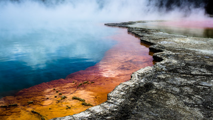 Hot springs Champagne pool in New Zealand