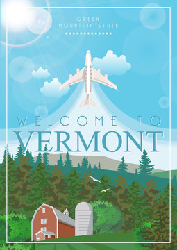 Vermont vector american poster. USA travel illustration. United States of America colorful greeting card, Burlington.
