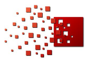 Rozerwany czerwony kwadrat
