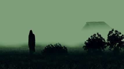 Grim reaper . / Halloween night abandoned house.