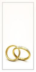 elegante Design Karte zur Einladung zur Hochzeit mit zwei Ringen und Freiraum für Text - blanko