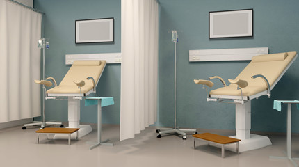 Planned examination in gynecology. Hospital. 3D rendering