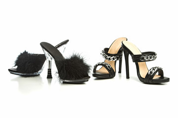 different high heels mules