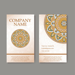Vector template business card. Geometric background. Card or invitation collection. Islam, Arabic, Indian, ottoman motifs.