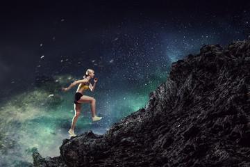 Young woman jogger . Mixed media