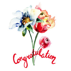 Congratulation floral card, watercolor painting