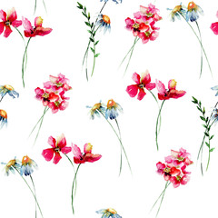 Seamless wallpaper with Stylized wild flowers