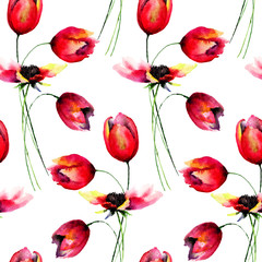 Seamless pattern with red Tulips flowers