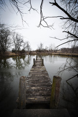 pond with long dock (wide angle)