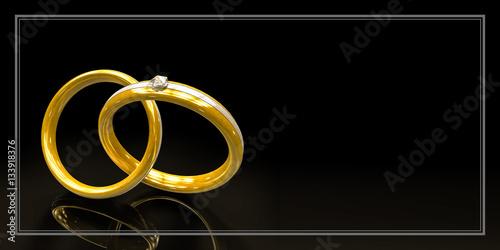 Einladungskarte Zur Hochzeit Mit Zwei Ringen   Und Freiraum Für Text, Blanko