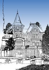 "Graphic image of the city, illustration. Crimea, Simeiz, Villa """