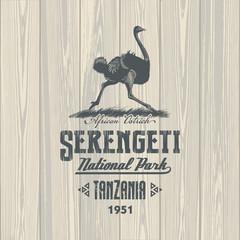Страус африканский, Национальный парк Серенгети, Танзания, на деревянном фоне, иллюстрация, вектор