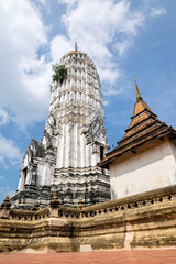 Ancient pagoda at Wat Phutthai Sawan temple in Ayutthaya Historical Park, Phra Nakhon Si Ayutthaya Province, Thailand