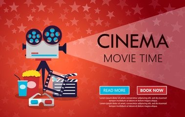 Cinema background or banner. Flyer template or a ticket for a movie
