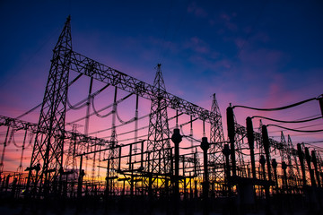 High Voltage Substation and Equipment ,sunset,Thailand