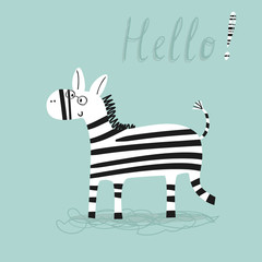 Cartoon zebra vector print