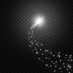 A bright comet with large dust. Falling Star. Glow light effect. Vector illustration