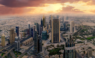 Dubai early morning aerial cityscape view