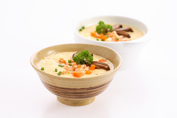 Steamed Egg with shrimp on white Background.