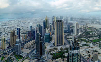 Dubai day time aerial cityscape view