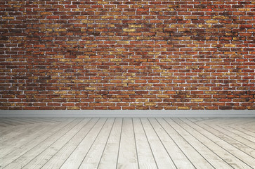 Empty red brick wall and white wooden floor