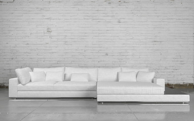 Large comfortable white modular couch