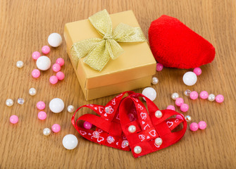 gift box with hearts and beads