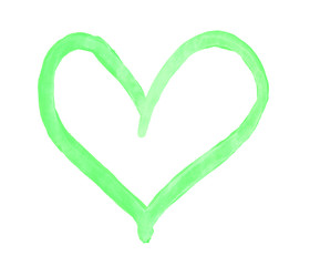 The outline of the light lime green heart drawn with paint on white background
