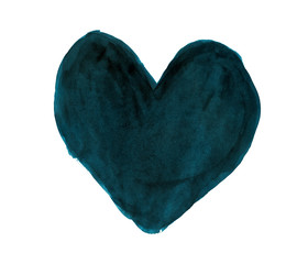 Dark turquoise heart painted with gouache