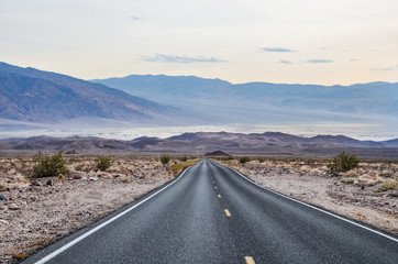 Road leading to Mesquite Sand Dunes in Death Valley, California